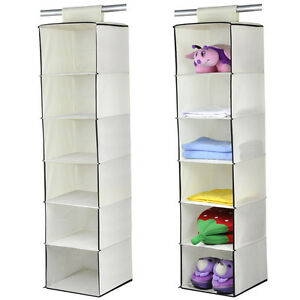 Wardrobe Hanging Storage 6Section/Unit Clothes Garment Organiser Shoe Stand Tidy