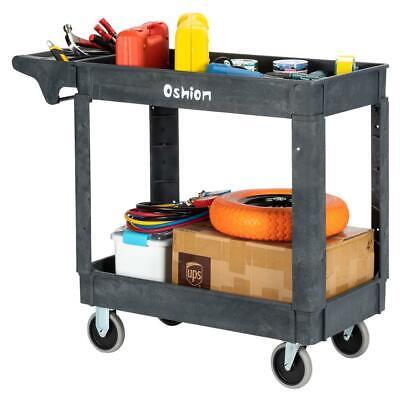Plastic Service Cart 2 Shelves Storage Rolling Push Handle 500 Lbs Capacity