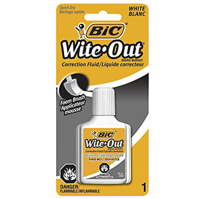 New Bic White Out Quick Dry Foam Brush Correction Fluid 0.70 Ounces