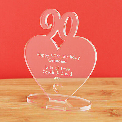 90th Birthday Personalised Milestone Heart Keepsake Gift Idea for HIM OR HER!