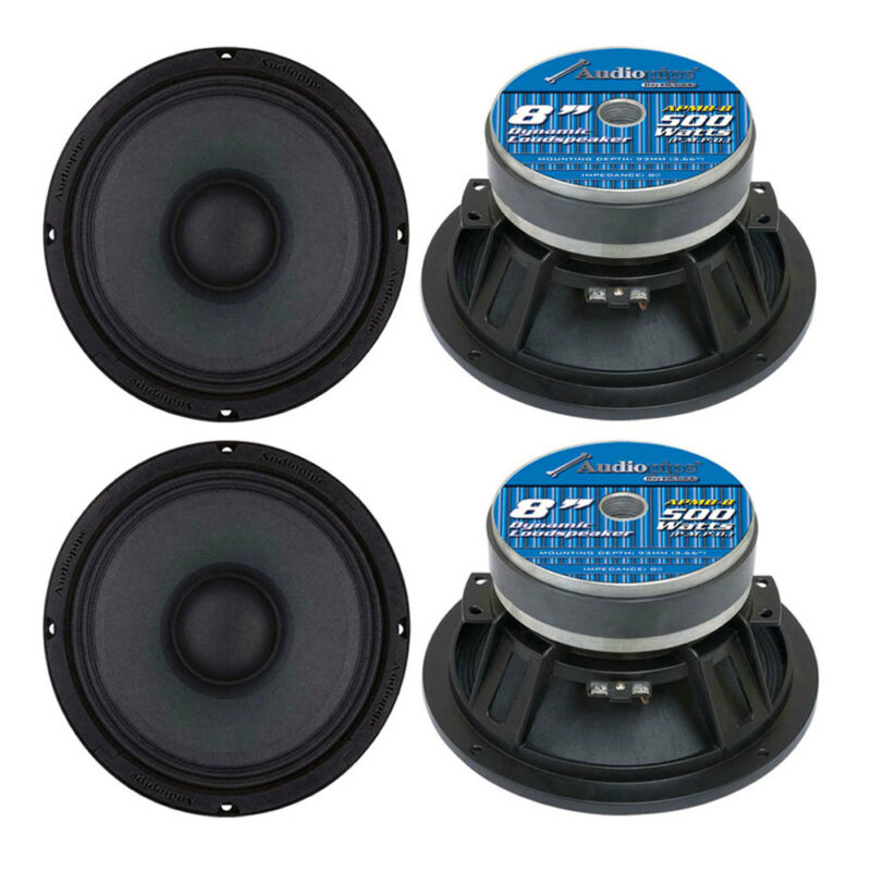 """Audiopipe APMB8 8"""" 2000W Low/Mid Bass Frequency Loudspeakers, 4 Speakers"""