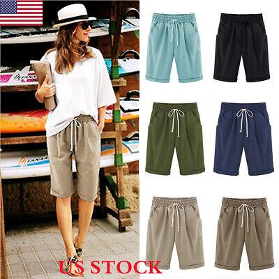 Fashion Women Ladies Loose Shorts Trousers Cropped Pants Summer Beach Plus Size