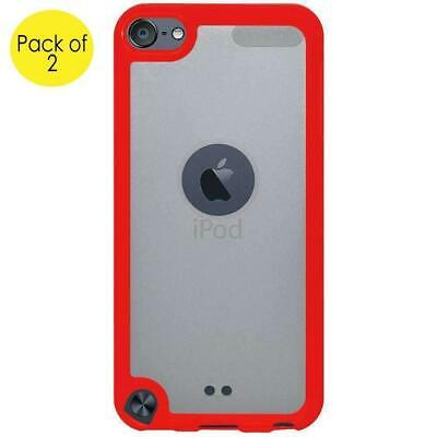 2 x iPod Touch 5/6 Gen SlimGrip Hybrid TPU Case Clear Back Cover - Cloudy/ Red Ipod Touch 2 Cover