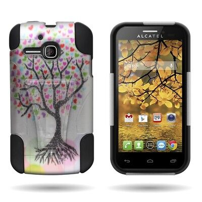 For ALCATEL One Touch Evolve 5020T Case Silicone Rubber Hybrid Cover Love Tree