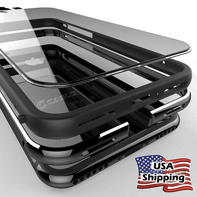 Clear Hard Plastic Back Metal Bumper Case Cover For iPhone XS 8/7/6s (Clear Metal)