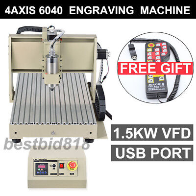 Usb 4axis 6040 1500 Vfd Cnc Router Engraver Engraving Milling Machinecontroller
