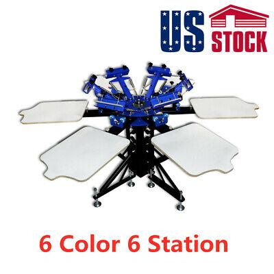 Us Manual 6 Color 6 Station Silk Screen Printing Machine T-shirt Printer