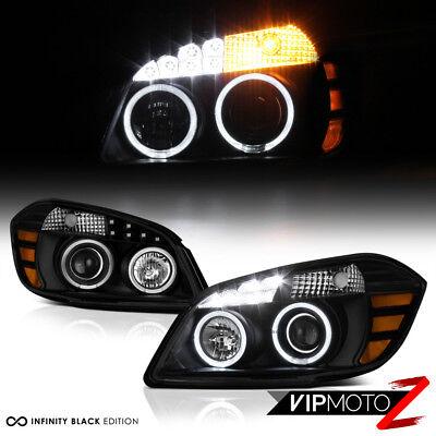 2005-2010 Chevrolet Cobalt Black LED SMD Angel Eye Headlights Pontiac G5 Pursuit