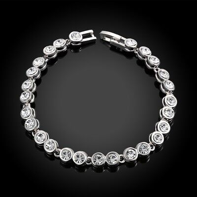 14K White Gold Plated Classic Tennis Bracelet Made with Swarovski Crystals