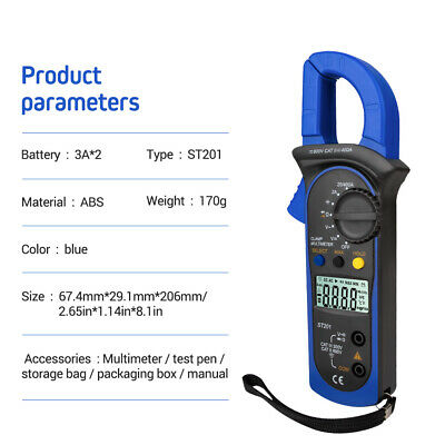 Digital Clamp Meter Tester Multimeter Amp Ac Dc Volt Auto Tester Ranging Probe