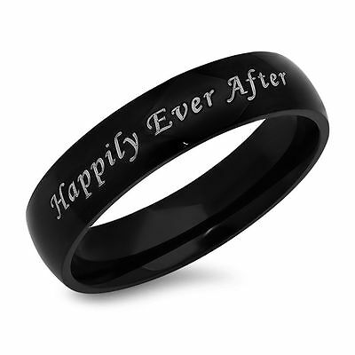 Custom Made Happily Ever After Quality Stainless Steel Black (Custom Made Stainless Steel Rings)