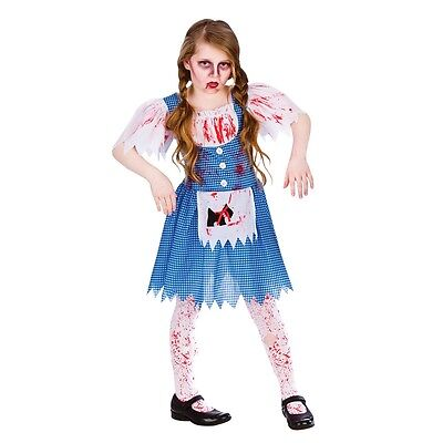 NEW Zombie Country Girl - Dorothy Girls Childrens Fancy Dress Halloween Costume - Scary Dorothy Halloween Costume