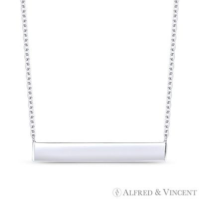Long-Rectangle Bar ID Pendant & Chain Necklace in .925 Sterling Silver & Rhodium