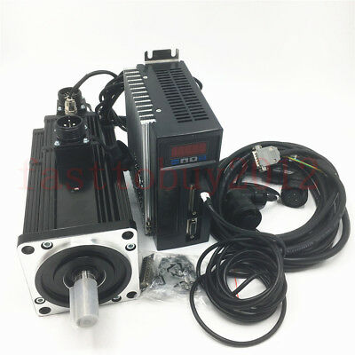 Nema34 Servo Motor With Brake 750w 2.4nm Ac Driver 3m Cables Kit For Cnc Milling