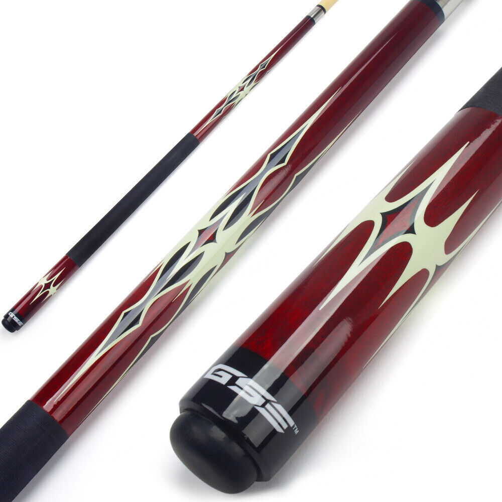 "Red 58"" 2-Piece Canadian Maple Hardwood Billiard Pool Cue St"