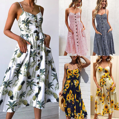 UK BOHO Womens Summer Beach Midi Dress Holiday Strappy Button Ladies Sun Dresses