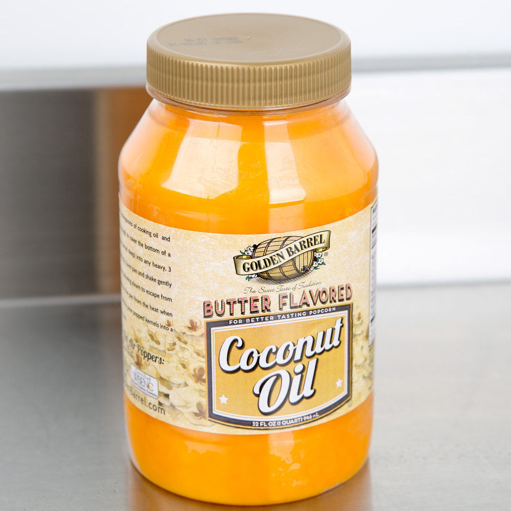 Golden Barrel Butter Flavored Coconut Oil 32 oz Quart Popcor