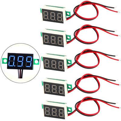 5x Mini 0.36 Blue Dc 3-30v Led Panel Voltmeter 3 Digital Display Voltage Meter