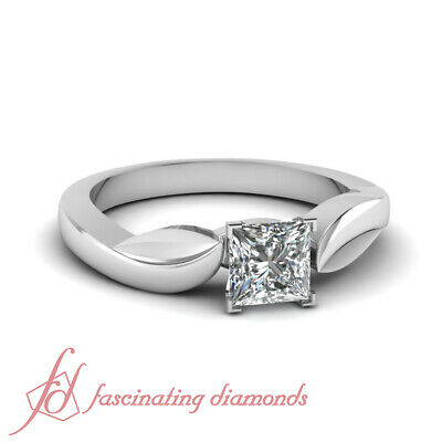 3/4 Carat Solitaire Diamond Engagement Rings With Conflict Free Princess Cut GIA