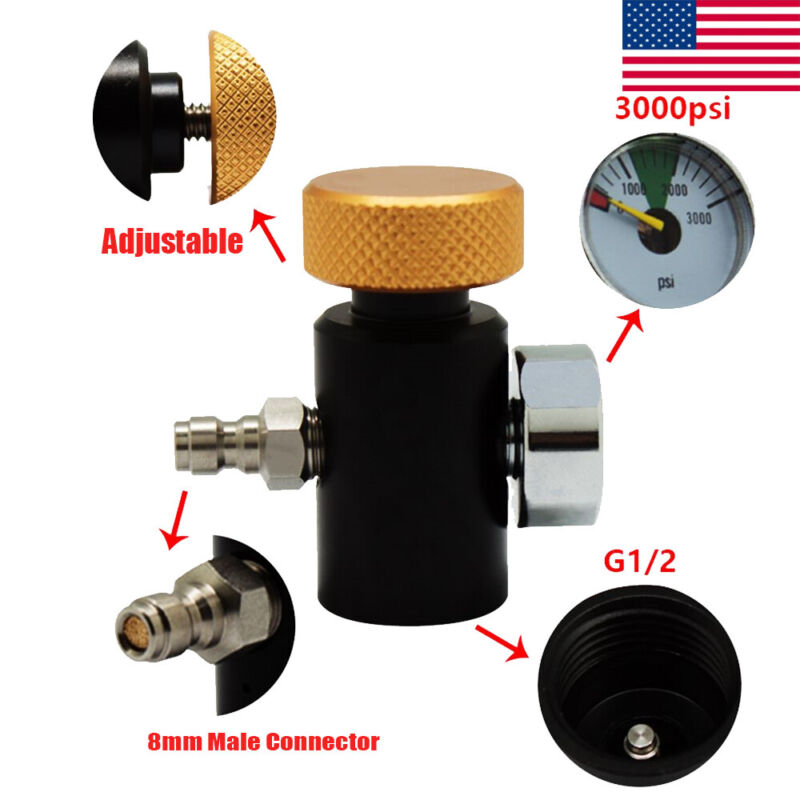 Tank Paintball CO2 Cylinder Refill Adapter On/off Valve&3000PSI Gauge&Connector