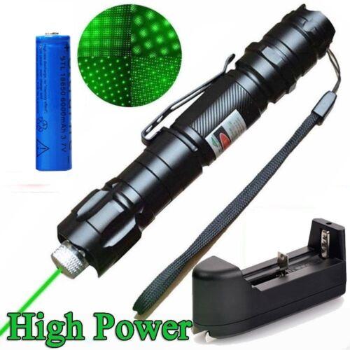 50Miles Belt Clip Green Laser Pointer Pen 532nm Star Cap Visible Beam+Batt+Char