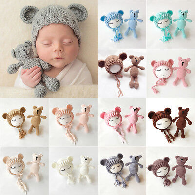 US Stock Newborn Baby Girls Boys Photography Prop Crochet Knit Costume Bear Hat - Infant Bear Costumes