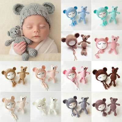 US Stock Newborn Baby Girls Boys Photography Prop Crochet Knit Costume Bear Hat](Baby Boy Bear Costume)