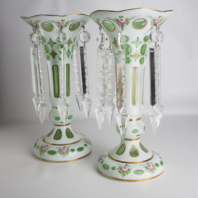 Vintage Czech Bohemian Mantle Lustres Lusters White Green Gold Accents Flowers