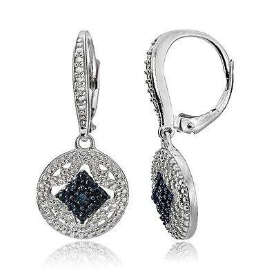 Sterling Silver Blue Diamond Accent Filigree Medallion Dangle Leverback (Diamond Accent Leverback Earrings)
