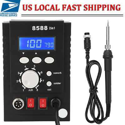 Digital Soldering Iron Station Desoldering Hot Air Gun Bga Smd Rework Welder Us