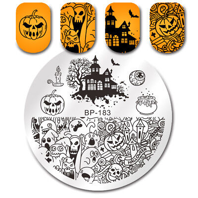 BORN PRETTY Stamping Plates Halloween Pumpkin Ghost Castle Nail Art Image Plates