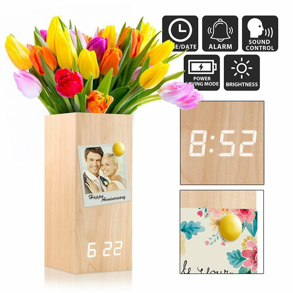 Wooden Alarm Clock Vase, Wood Magnetic Digital Alarm Clock, 3 Brightness