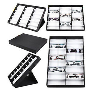 16/18Pcs Portable Sunglass Display Storage Case Tray Organizer Glass Box Stand