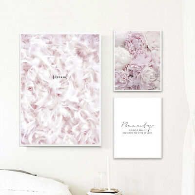 Feather Flower Pink Canvas Nordic Posters Quote Wall Art Prints Painting Decor](Feather Wall Art)