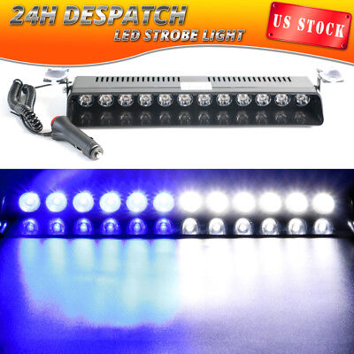 12 LED Emergency Warning Strobe Light Bar Truck Beacon Hazard Visor BLUE WHITE
