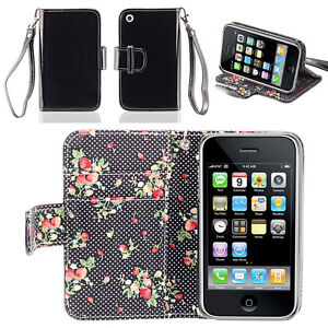 IZENGATE Floral Wallet PU Leather Flip Case Cover Folio for Apple iPhone 3G 3GS