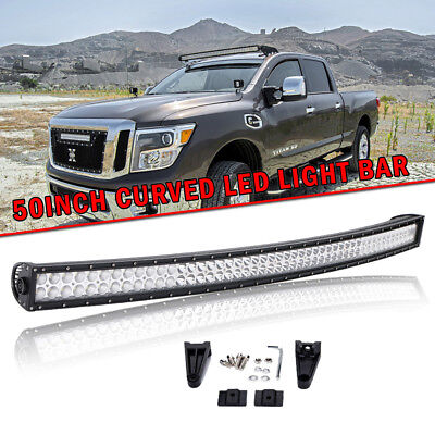 50INCH 288W CURVED LED WORK LIGHT BAR FOR   OFFROAD 4WD BOAT FLOOD SPOT ATV