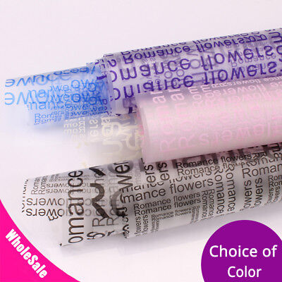 22.75x22.75in Clear Frosted w/ Colorful Text Plastic Gift Flower Wrapping Paper