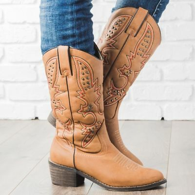 New Women's Pointy Toe Embroidered Studded Mid Calf Cowboy Western Boot Low Heel Cowboy Mid Calf Boot