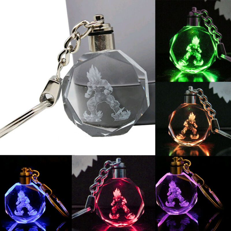 Dragon Ball Dragonball Z Saiyajin Son Goku Crystal Key Chain LED Pendant light