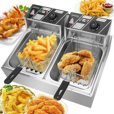 Commercial Potato Fryer Electric Double French Fries Chicken Food Equipment 2 Us