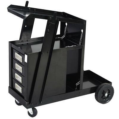 4 Drawers Cabinet Welding Welder Cart Plasma Cutter Tank Storage Mig Tig Arc