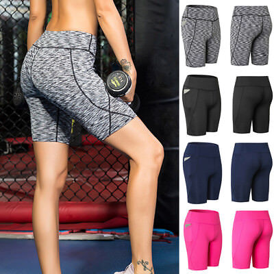 Women Elastic Sports Shorts Side Pocket Athletic Yoga Fitness Running High Waist
