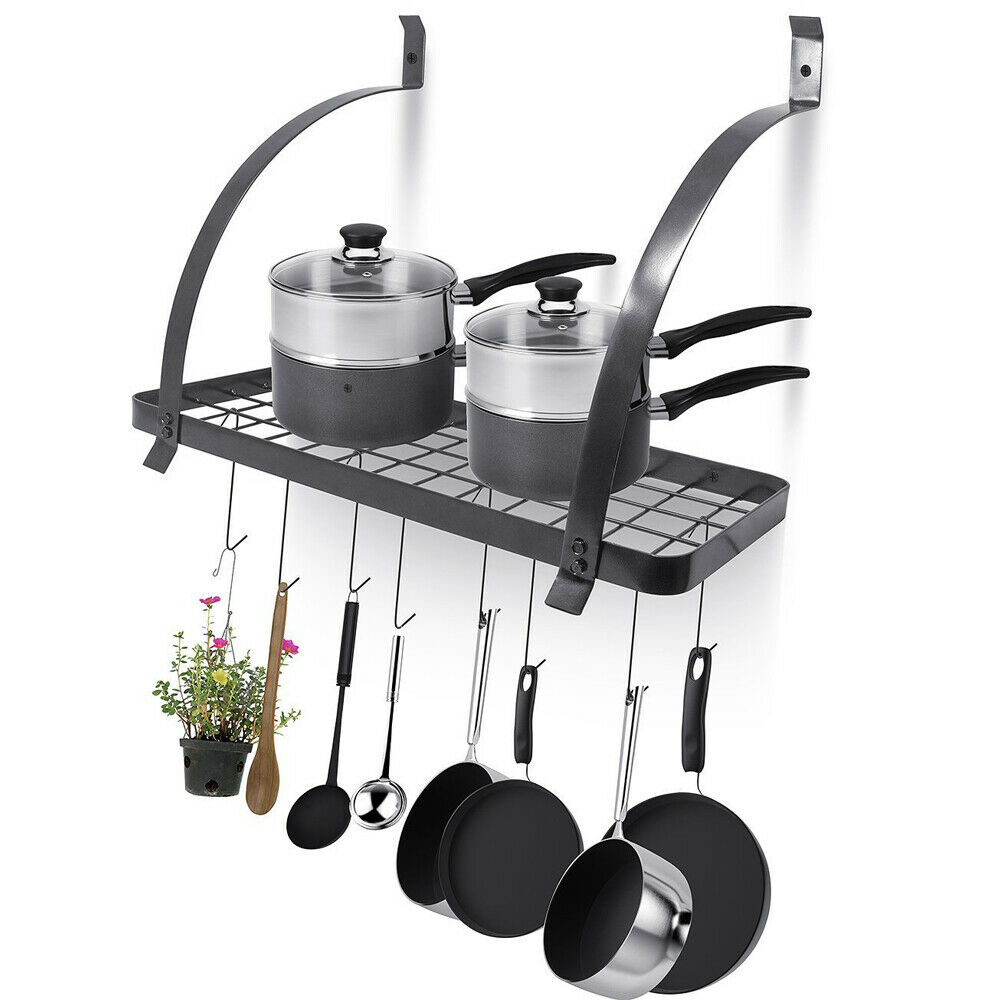 Kitchen Wall Mounted Pot Pan Rack Holder Cookware Storage ...