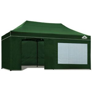3 x 6 Pop Up Gazebo Hut with Sandbags Canopy Shade Outdoor Camping - Green