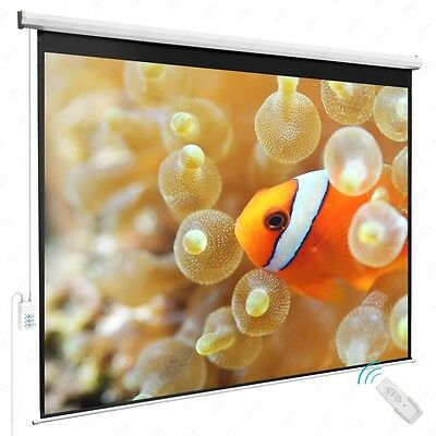 100'' 4:3 Projection Screen Electric Remote Control HD Movie Theater Matte White