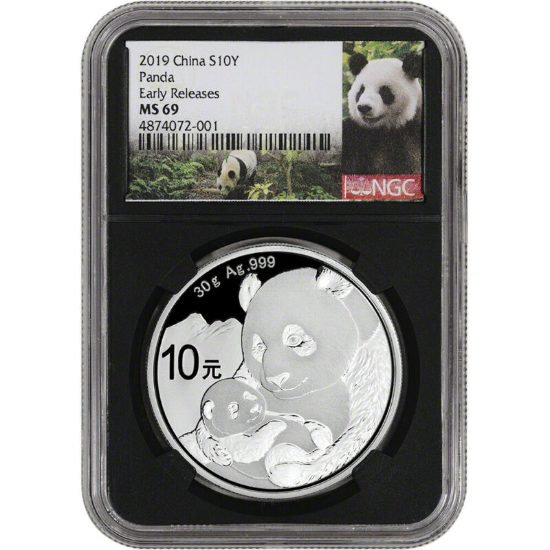 2019 China Silver Panda 30 g 10 Yuan - NGC MS69 Early Releases Panda Label Black