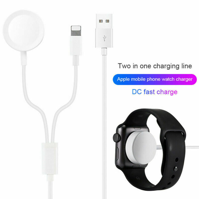2in1 FASTER Wireless Charging Cable For Apple iPhone Charger Apple Watch iwatch