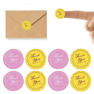 120x Round Letter Thank You Paper Label Bag Seal Adhesive Sticker Craft 2.7cm