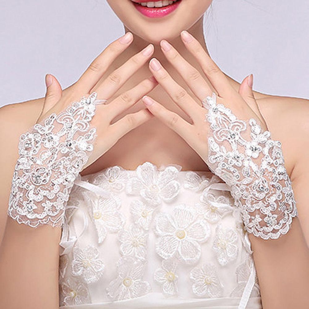 f884269832f Stylish Women Chic Lace Beaded Fingerless Rhinestone Wedding Bridal Short  Gloves